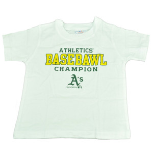 MLB Oakland Athletics Carroll Toddler Basebawl Champions White Tshirt Tee Boy
