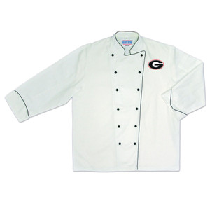 NCAA Georgia Bulldogs Dawgs Premium Chef Coat Professional Tailgate White