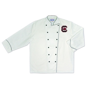 NCAA South Carolina Gamecocks Premium Chef Coat Professional Style White