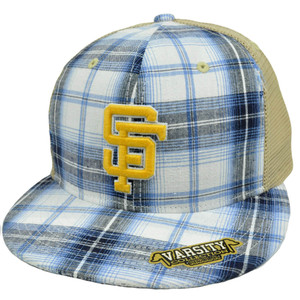 NCAA San Francisco SF Gators Plaid Flat Bill Snapback Mesh Distressed Hat Cap