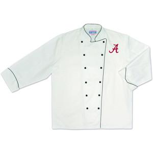 NCAA Alabama Crimson Roll Tide Premium Chef Coat Professional Style White