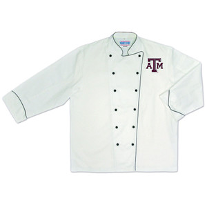 NCAA Texas A&M Aggies Premium Chef Coat Professional Style Tailgate White
