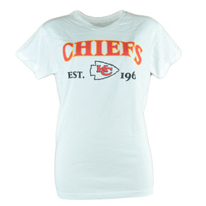 NFL Kansas City Chiefs Commissioner Women Ladies White Football Tshirt Tee