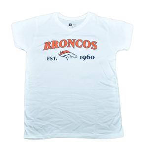 NFL Denver Broncos Commissioner Women Ladies Football White Tshirt Tee