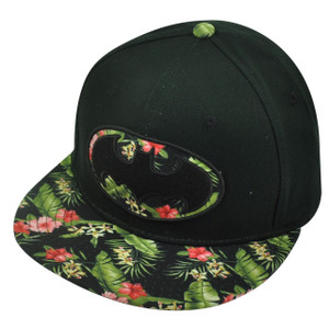 Batman Floral Print Snapback Flat Bill Cartoon Super Hero Hat Cap Comic Books