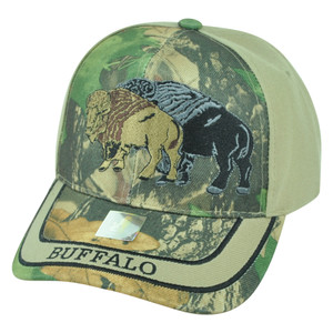 Buffalo Wild Animal Camouflage Camo Two Tone Outdoors Velcro Adjustable Hat Cap