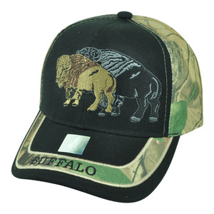 Buffalo Wild Animal Camouflage Camo Two Tone Outdoors Velcro Hat Cap Black Camp