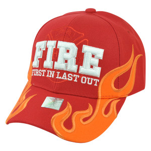 Fire Department Dept Firefighters First In Last Out Flames Red Velcro Hat Cap