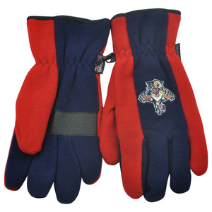 NHL Florida Panthers Fleece Gloves Winter Two Tone Thermal Insulation One Size