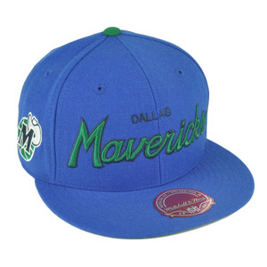 NBA Mitchell Ness G023 Dallas Mavericks Fitted Flat Bill Script Hat Cap