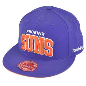 NBA Mitchell Ness TQ40 Phoenix Suns Arch Flat Bill Fitted Hat Cap