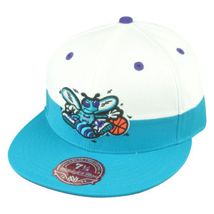 NBA Mitchell Ness Charlotte Hornets G058 Half Fitted White Hat Cap