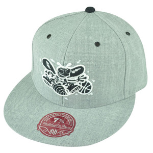 NBA Mitchell Ness Charlotte Hornets TS53 HWC Heather Grey Fitted Hat Cap