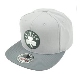NBA Mitchell Ness G327 Grey Mega Boston Celtics Fitted Flat Bill Hat Cap HWC