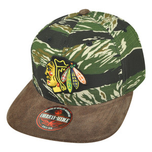 NHL American Needle Chicago Blackhawks Camouflage Snap Buckle Hat Cap Flat Bill