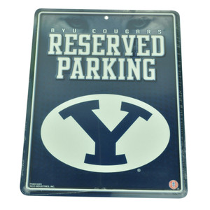 NCAA Brigham Young Cougars Reserved Parking Tin Sign Lot BYU Fan Novelty Blue
