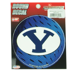 NCAA Brigham Young Cougars Round Decal Sticker Blue Fan Sport Novelty BYU 4X4