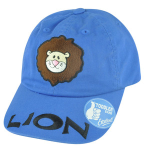 Lion Animal Toddler Velcro Blue Garment Wash Relaxed King of Jungle Hat Cap