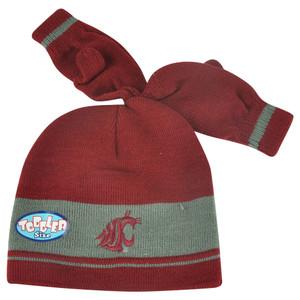 NCAA Washington State Cougars Gloves & Knit Set Toddler Cuffless Hat Striped