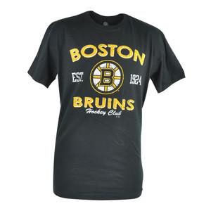 NHL Boston Bruins Circle Distressed Mens Tshirt Black Hockey Club Tee