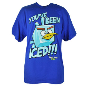 Angry Birds Space Ice Youve Been Iced Phone Video Game Blue Tshirt Tee
