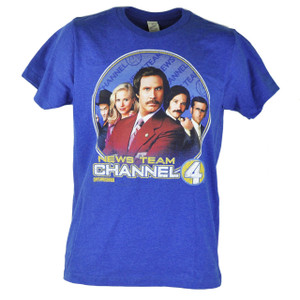 Anchorman News Team Channel 4 Distressed Graphic Heather Blue Tshirt Tee