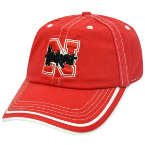 NCAA Nebraska Cornhuskers Huskers Garment Wash Big Red White Stitches Hat Cap
