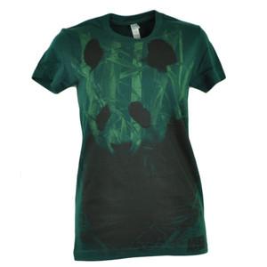 Animal Planet Panda Bear Incognito Hunter Green Women Ladies Tshirt Tee