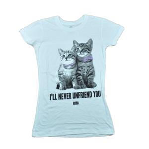 Animal Planet Ill Never Unfriend You Kitten Women Ladies White Tshirt Tee