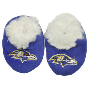 NFL Baltimore Ravens Infant Baby Faux Fur Sport Slippers Warm Booties