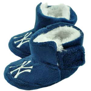 MLB New York Yankees Infant Baby Faux Fur Sport Slippers Warm Booties Blue