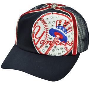 MLB American Needle New York Yankees Bronx Bombers Glitter Mesh Snapback Hat Cap