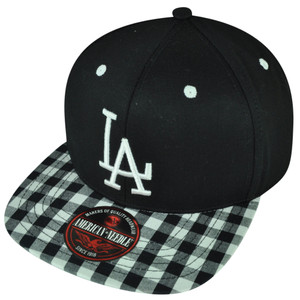 MLB American Needle Los Angeles Dodgers Black White Plaid Clip Buckle Hat Cap