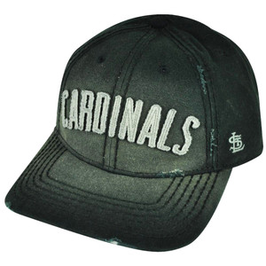 MLB American Needle Louis Cardinals Faded Black Strap Buckle Distressed Hat Cap