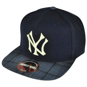 41ceed798a2 MLB American Needle New York Yankees Navy Strap Buckle Flat Bill Plaid Hat  Cap