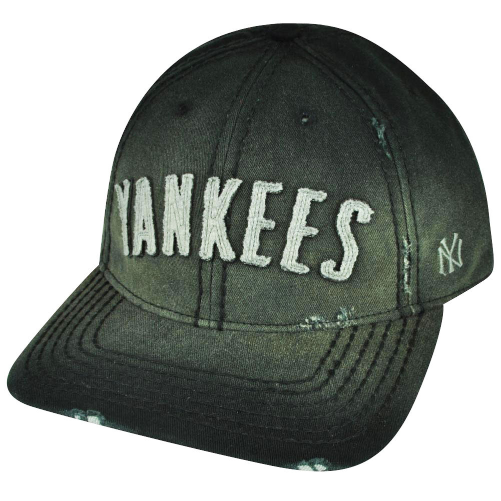 MLB American Needle New York Yankees Faded Black Strap Buckle Distressed  Hat Cap 8c1ca145494