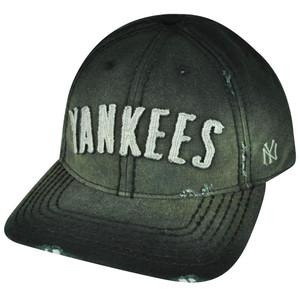 MLB American Needle New York Yankees Faded Black Strap Buckle Distressed Hat Cap