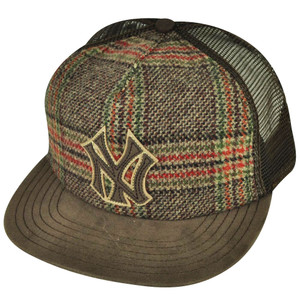 MLB American Needle Felt New York Yankees Strap Back Brown Vintage Mesh Hat Cap