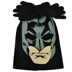 Batman Face Print Mask Youth Knit & Gloves Set Beanie Dark Knight Super Hero