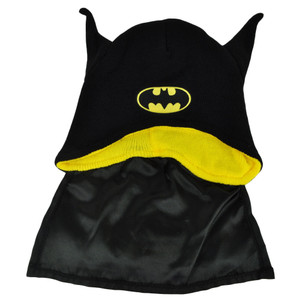 Batman Bat Ears Super Hero Cape Knit Beanie Black Toque DC Comics Cartoon Hat