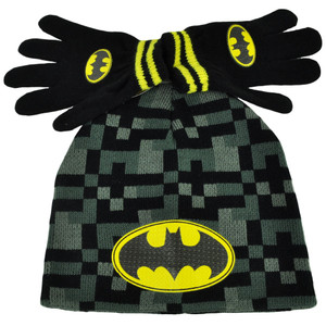Batman Digital Camouflage Knit & Gloves Set Youth Cuffless Beanie Toque DC Comic
