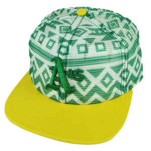 MLB American Needle Oakland Athletics Aztec Mesh Snapback Flat Bill Hat Cap Green