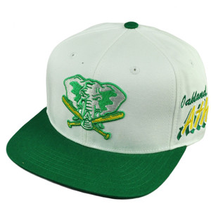 MLB American Needle Oakland Athletics White Green Snapback Flat Bill Hat Cap
