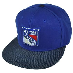 NHL American Needle New York Rangers Flat Bill Suede Snapback Hat Cap Blue Sport