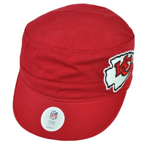 NFL Kansas City Chiefs Cadet Fatigue Womens Red Hat Cap Sun Buckle Sports Ladies