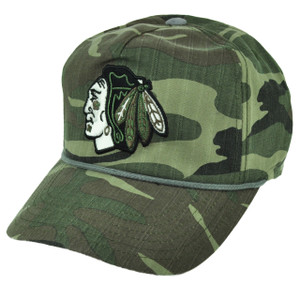 NHL American Needle Chicago Blackhawks Camouflage Camo Sun Buckle Hat Cap Sports