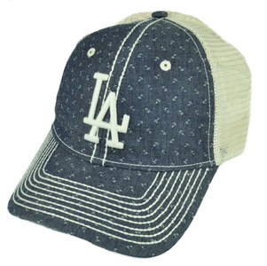 MLB American Needle Los Angeles Dodgers Denim Mesh Relaxed Hat Cap Belt Buckle