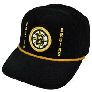 NHL American Needle Boston Bruins Corduroy Snapback Trucker Hat Cap Black Sports