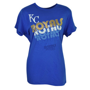 MLB Kansas City Royals KC Womens Ladies Blue Tshirt Tee Short Sleeve Cotton