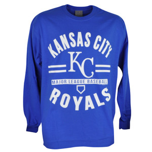 MLB Kansas City Royals KC Long Sleeve Pullover Tshirt Blue Mens Adult Sport